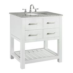 Home Decorators Collection Fraser 31 in. D Bath Vanity in White with Solid Granite Vanity Top in Gray with White Sink - The Home Depot White Vanity Bathroom, Bathroom Vanity Cabinets, Vanity Sink, Bath Vanities, Small Bathroom, Bathroom Ideas, Basement Bathroom, Bathrooms, Bathroom Shop