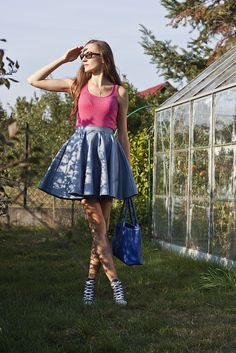 Pink & Blue long hair, haircut Beauty & Fashion skirt, sneakers Converse, Furla bag