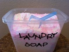 Laundry soap, I use the food processor!  Makes life easy.  I also store this in old formula containers (Thanks Cassie!) and the scoop in the lid is perfect, 1 scoop for regular and 2 scoops for large loads.