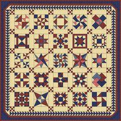 Free Sampler Quilt Patterns | Red White & Blue Sampler Quilt Pattern
