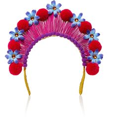 Magnetic Midnight Pompom Crown (890 CAD) ❤ liked on Polyvore featuring accessories, hair accessories, red, red hair accessories, decorated garland, floral hair accessories, flower garland and crown hair accessories