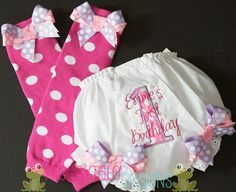 Birthday Diaper Cover Tutu Bloomer and Leg by FroggytaleDesigns, $31.95