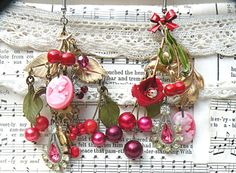 mismatch cherry earrings assemblage cameo by lilyofthevally
