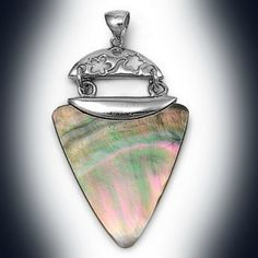925 Sterling Silver and Mother of Pearl (Abalone Shell) Bali Pendant - 38 mm #Handmade #Pendant