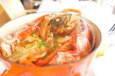 bouillabaisse of marbled rockfish, homard lobster and scallops
