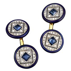 Art Deco cufflinks from the famed jewelry house of Cartier are the pinnacle of taste. Crafted in a sleek geometrical motif, these links boast cabochons of deep blue sapphire, weighing approximately .75 total carats, surrounded by 2.00 carats of sparkling diamonds, while flawless enamel matches the sapphires intense hue. Set in 18K yellow gold and platinum, these cufflinks were sold by S. J. Phillips, Ltd, London and are housed in their original box. Diamond weight is approximate.