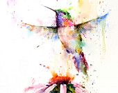 HUMMINGBIRD and FLOWER Colorful Watercolor Print by DeanCrouserArt