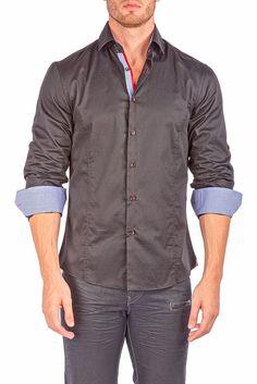 162542 - Black Button Up Long Sleeve Dress Shirt