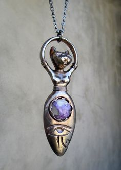 Bast Goddess with Charoite Moonstone and Eye by SilviasCreations, $189.00