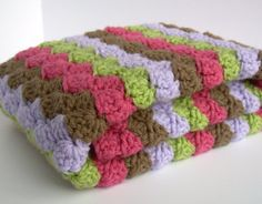 Crochet Baby Blanket, Baby Blanket, Crochet Baby Girl Blanket, Pink, Brown, Lilac Purple, and Sweet Pea Green, travel, stroller size