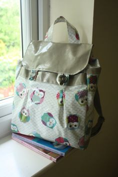 Pleated Oilcloth Backpack Owl Rucksack by FayeRayDesigns on Etsy, £40.00