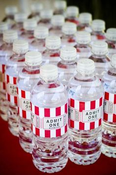 admit one water bottles 25 Oscar Party Ideas Carnival Themed Party, Carnival Birthday Parties, Circus Birthday, Birthday Party Themes, Birthday Ideas, 13th Birthday, Carnival Tickets, Outdoor Movie Party, Movie Night Party