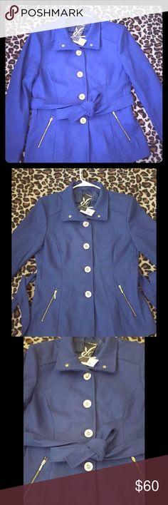 **🆓 Shipping*Pea Coat. Gold Button Detail w/ Belt Gorgeous Blue Pea Coat. I'm So Sad I Can't Fit It Lol. Gold Button Detail with Belt Included Rampage Jackets & Coats Pea Coats