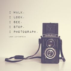A photograph of a Lubitel medium format camera from the 60s, with a beautiful quote from photographer Leon Levinstein in simple typography. Please