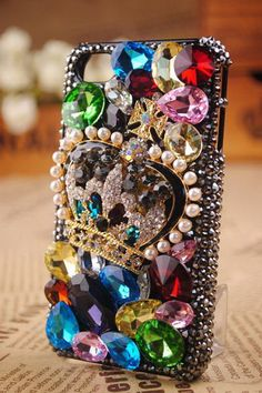 Colorful crystal crown And Pearl DIY Cell Phone by supplymaterial