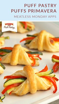 Here is an elegant way to showcase colorful vegetables in this impressive appetizer featuring individual puff pastries holding a cheesy, vegetable topped filling. A tray of these tasty treasures is the perfect way to get your party started! Pepperidge Farm Puff Pastry, Puff Pastry Sheets, Puff Pastry Recipes, Center Stage, Meatless Monday, Event Ideas, Brunch Recipes, Finger Foods, Easy Meals