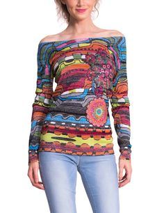 Fun, Lightweight sweater top featuring a wild graphic design and metallic thread. Empire, Pullover, Colourful Outfits, Online Fashion Stores, Pulls, Casual Dresses, Cool Style, Long Sleeve, Party