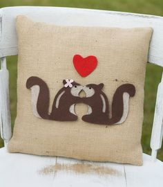 Sweethearts- Decorative Felt Squirrels in Love Burlap Pillow 14x14. $28,99, via Etsy.