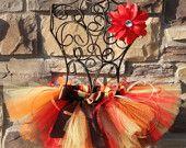 AUTUMN MEDLEY--Custom Made Hand-Tied Ribbon Tutu Skirt with Free Flower Clip, sizes Newborn-5T
