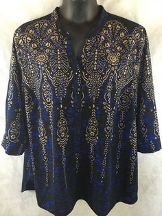 Catherines 3/4 Sleeve Tunic Blue Black Tan Geometric Floral Heart Size 2X #Catherines #Tunic #Career