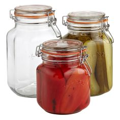 Enjoy free shipping on all purchases over $75 and free in-store pickup on the Kilner Square Hermetic Glass Canning Jars at The Container Store. The reasons why these Kilner Square Hermetic Glass Canning Jars have been popular since the 1840s are clear: they're durable, practical and made extremely well. Generations of home chefs and bakers have used these clip-top jars for canning fruits and preserving pickles, jams and chutneys. They're also a wise choice for storing dry foods such a...