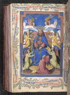 Miniature of David, puzzle initial 'S' developing a border including a peacock, in the Breviary.