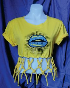 d28f5b1695c1 Hand Knotted Fringe Boho Beach Shirt Lips tshirt Blue Lips Shirt Beaded  Fringe Top Girls Hippie Shir