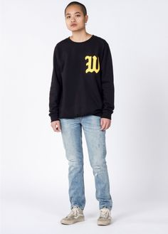 W Felt Applique Crew