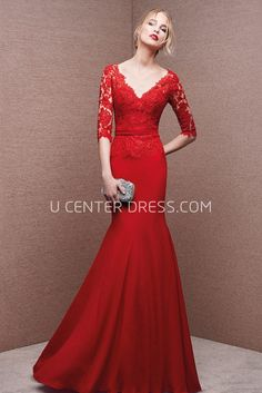 $132.09-Gossamery Michaelia Red Sheath Red Lace Mermaid Evening Gown with Sleeves. http://www.ucenterdress.com/gossamery-michaelia-prom-dress-pMK_301591.html.  Shop for affordable evening gowns, prom dresses, white dresses, party dresses for women, little black dresses, long dresses, casual dresses, designer dresses, occasion dresses, formal gowns, cocktail dresses . We have great 2016 Evening Gowns on sale now. #evening #gowns