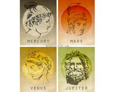 roman mythology- greek counterparts are Hermes- ares- Aphrodite- and Zeus