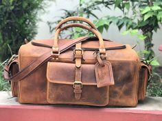 ebeb315cfafb 24 inch Genuine Buffalo Leather Weekender Bag