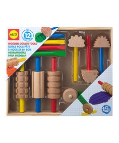 This is the wooden playdough tool set that we have and love! On big sale at Zulily right now!