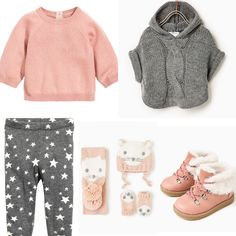 Baby girl outfit idea. Zara poncho, scarf, hat, mittens and pink booties, H&M knit trousers and cashmere sweater. 2016 fall collection.