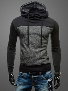 Cordón con capucha de algodón de bloque Color de la sudadera con capucha para hombres