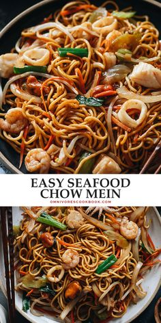 If you're looking for an easy dinner, look no further than this one-pan seafood chow mein that's even more scrumptious than the restaurant version! Best Seafood Recipes, Healthiest Seafood, Fish Recipes, Indian Food Recipes, Asian Recipes, Chinese Recipes, Ethnic Recipes, Chinese Food, Oriental Recipes