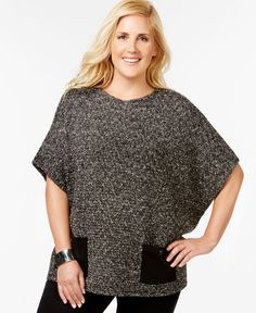 Jm Collection Woman Plus Size Marled-Knit Poncho Top, Only at Macy's