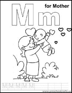 M Is For Mother Coloring Sheets Kids