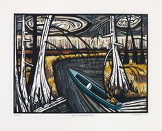 """David Bates, """"The Deadening,"""" 2010, woodcut in twelve colors, 23 1/2"""" x 28 3/4"""", published by Pace Editions, Inc."""