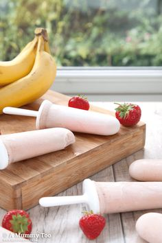 These delicious smoothies contain only natural ingredients - no refined sugar, no flavourings or preservatives, just fruit, milk and vanilla. They can be whizzed up in seconds, frozen over night and have a deliciously creamy texture so even kids who don't like bits will enjoy them.
