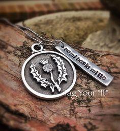 "Hand Stamped ""Da mi basia mille""necklace - Outlander - Scottish thistle on Etsy, $31.00"