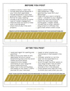 Before You Post + After You Post Checklists for Your #Blog Posts (and a free download). #bloggers #blogging