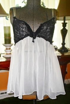 NAUGHTY SHEER BABYDOLL NIGHTGOWN TRES CHIC SMALL VINTAGE LINGERIE #TRESCHIC so naughty and sheer