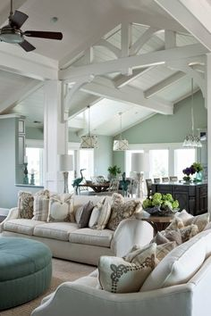 - Get this home decor look at purehome.com - Paint beams white? How To Decorate Your Living Room With Turquoise Accents