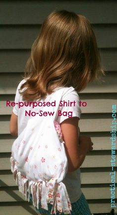 Re-purposed T-shirt to Handbag: 2 Different Tutorials Sewing & No-sew | practical-stewardship.com