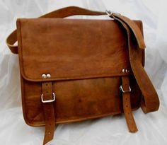 Padded Leather Messenger Bag A4 13 inches/Inch Handmade Soft Mens Unisex Ipad Satchel Shoulder Handbags/Bags Pouch/Case For him or her. $64,00, via Etsy.