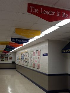 """Great ideas for LIM-- I really like the 7 Habits banners in the hall. Would be great at our school to direct parents to the gym for programs. """"Just follow the habits to our 7 Habits program in the gym!"""""""