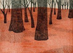 wood / trees - block print 2013 - Tamae Mizukami (Japan)