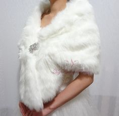 Bridal Ivory Faux Fur Stole Ivory Bridal Wrap by MyRadiantBeauty, $56.99
