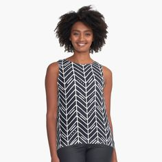 Black And White Leaves, White Leaf, Black Tops, Chiffon Tops, Tank Man, How To Draw Hands, Printed, Awesome, Hand Drawn