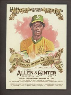 """2017 Topps Allen & Ginter Double Rip Card Henderson McGwire """" Not Ripped """" Rickey Henderson, Oakland Athletics, Baseball Cards, History, Trading Cards, High School, Historia, Collector Cards, Grammar School"""